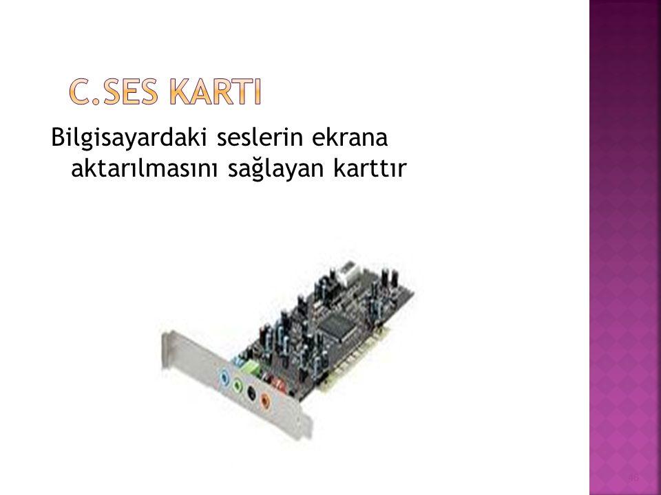 Bilgisayardaki seslerin ekrana aktarılmasını sağlayan karttır 46