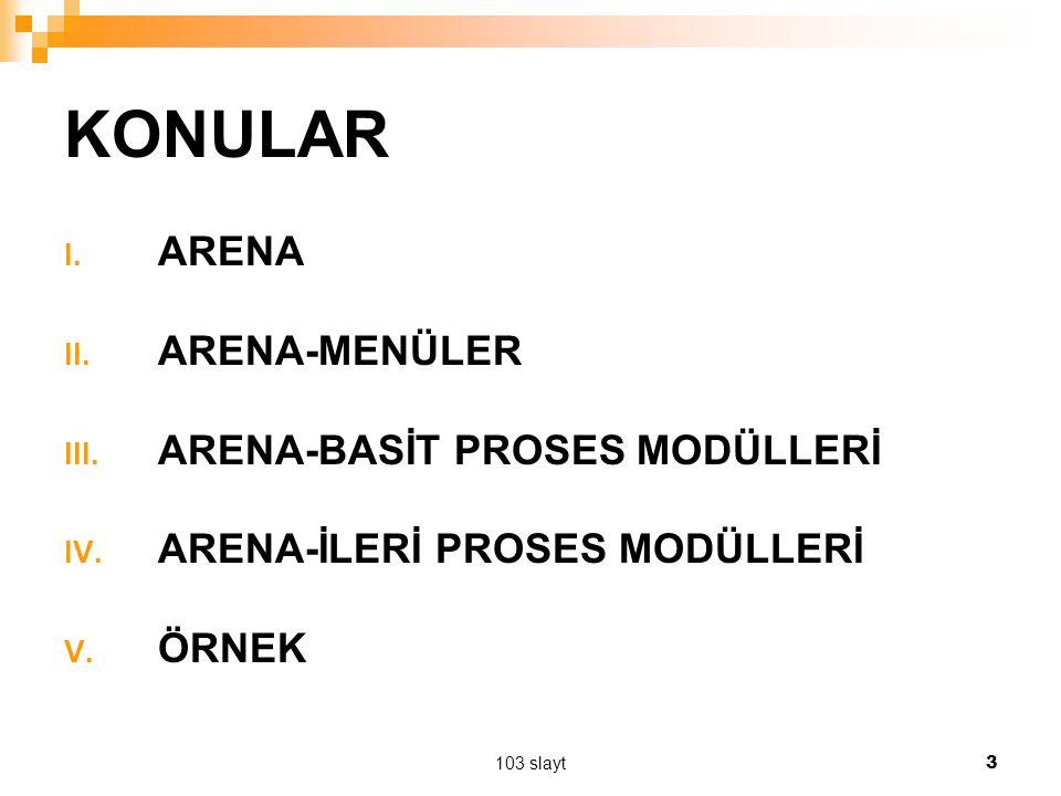 103 slayt 3 KONULAR I. ARENA II. ARENA-MENÜLER III. ARENA-BASİT PROSES MODÜLLERİ IV. ARENA-İLERİ PROSES MODÜLLERİ V. ÖRNEK