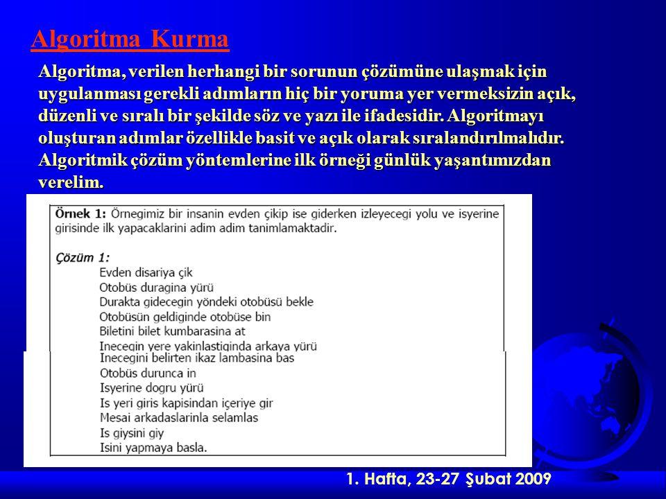 2.Hafta, 02-07 Mart 2009 Mantıksal yapılardan ikincisi Karar Verme yapısıdır.