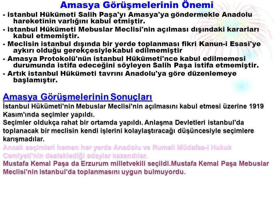 Amasya Görüşmelerinin Önemi - istanbul Hükümeti Salih Paşa yı Amasya ya göndermekle Anadolu hareketinin varlığını kabul etmiştir.