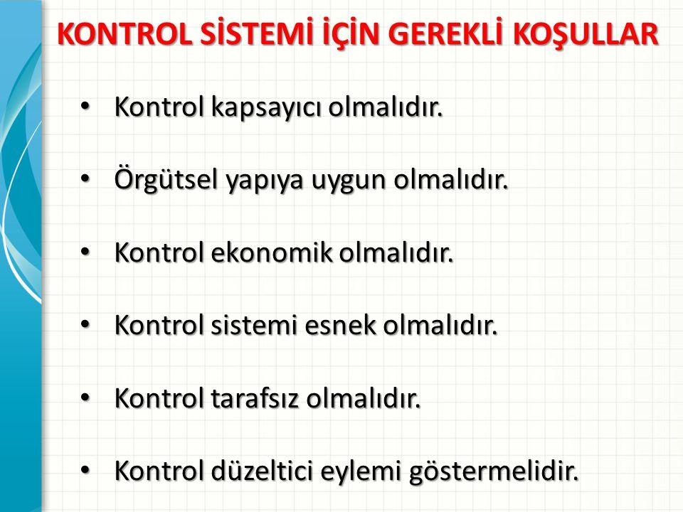 KONTROL SİSTEMİ İÇİN GEREKLİ KOŞULLAR Kontrol kapsayıcı olmalıdır.