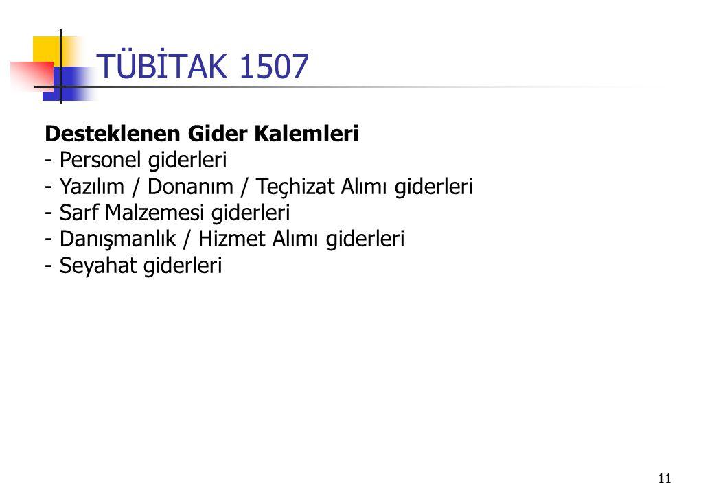 11 TÜBİTAK 1507 Desteklenen Gider Kalemleri - Personel giderleri - Yazılım / Donanım / Teçhizat Alımı giderleri - Sarf Malzemesi giderleri - Danışmanlık / Hizmet Alımı giderleri - Seyahat giderleri