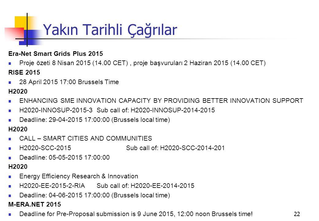 22 Yakın Tarihli Çağrılar Era-Net Smart Grids Plus 2015 Proje özeti 8 Nisan 2015 (14.00 CET), proje başvuruları 2 Haziran 2015 (14.00 CET) RISE 2015 28 April 2015 17:00 Brussels Time H2020 ENHANCING SME INNOVATION CAPACITY BY PROVIDING BETTER INNOVATION SUPPORT H2020-INNOSUP-2015-3Sub call of: H2020-INNOSUP-2014-2015 Deadline: 29-04-2015 17:00:00 (Brussels local time) H2020 CALL – SMART CITIES AND COMMUNITIES H2020-SCC-2015Sub call of: H2020-SCC-2014-201 Deadline: 05-05-2015 17:00:00 H2020 Energy Efficiency Research & Innovation H2020-EE-2015-2-RIASub call of: H2020-EE-2014-2015 Deadline: 04-06-2015 17:00:00 (Brussels local time) M-ERA.NET 2015 Deadline for Pre-Proposal submission is 9 June 2015, 12:00 noon Brussels time!