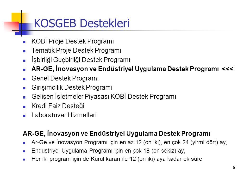 6 KOSGEB Destekleri KOBİ Proje Destek Programı Tematik Proje Destek Programı İşbirliği Güçbirliği Destek Programı AR-GE, İnovasyon ve Endüstriyel Uygulama Destek Programı <<< Genel Destek Programı Girişimcilik Destek Programı Gelişen İşletmeler Piyasası KOBİ Destek Programı Kredi Faiz Desteği Laboratuvar Hizmetleri AR-GE, İnovasyon ve Endüstriyel Uygulama Destek Programı Ar-Ge ve İnovasyon Programı için en az 12 (on iki), en çok 24 (yirmi dört) ay, Endüstriyel Uygulama Programı için en çok 18 (on sekiz) ay, Her iki program için de Kurul kararı ile 12 (on iki) aya kadar ek süre