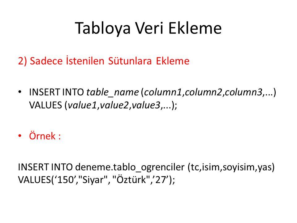Tabloya Veri Ekleme 2) Sadece İstenilen Sütunlara Ekleme INSERT INTO table_name (column1,column2,column3,...) VALUES (value1,value2,value3,...); Örnek