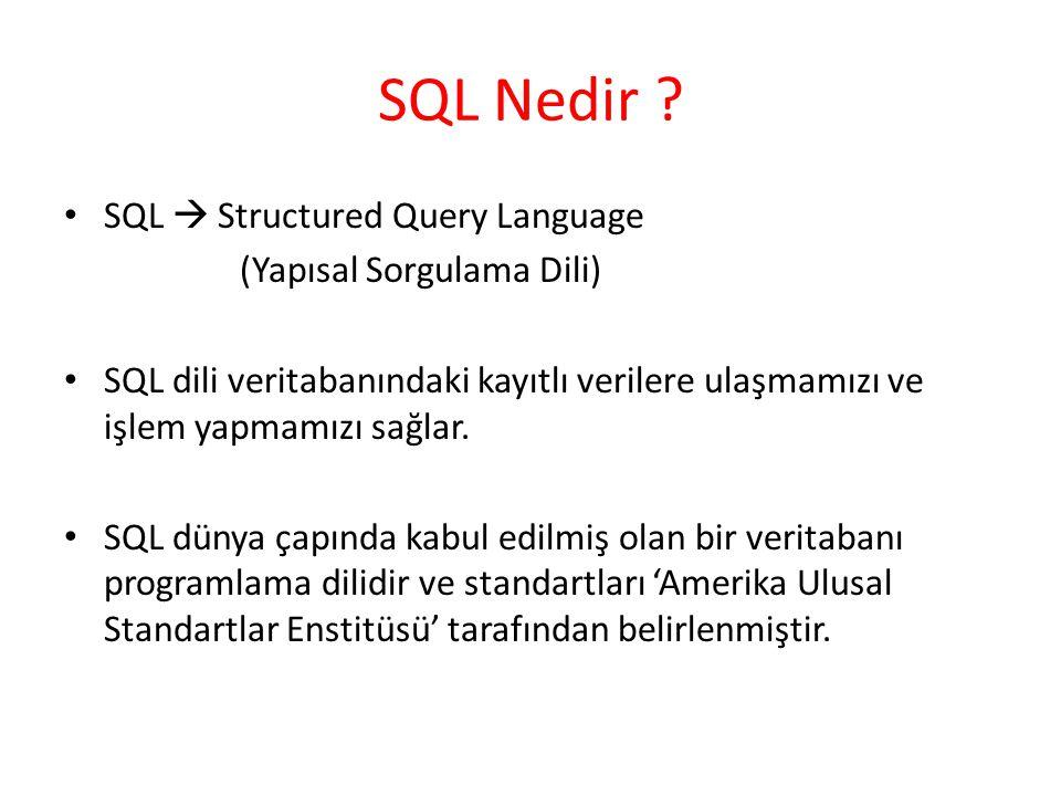 SQL Nedir ? SQL  Structured Query Language (Yapısal Sorgulama Dili) SQL dili veritabanındaki kayıtlı verilere ulaşmamızı ve işlem yapmamızı sağlar. S