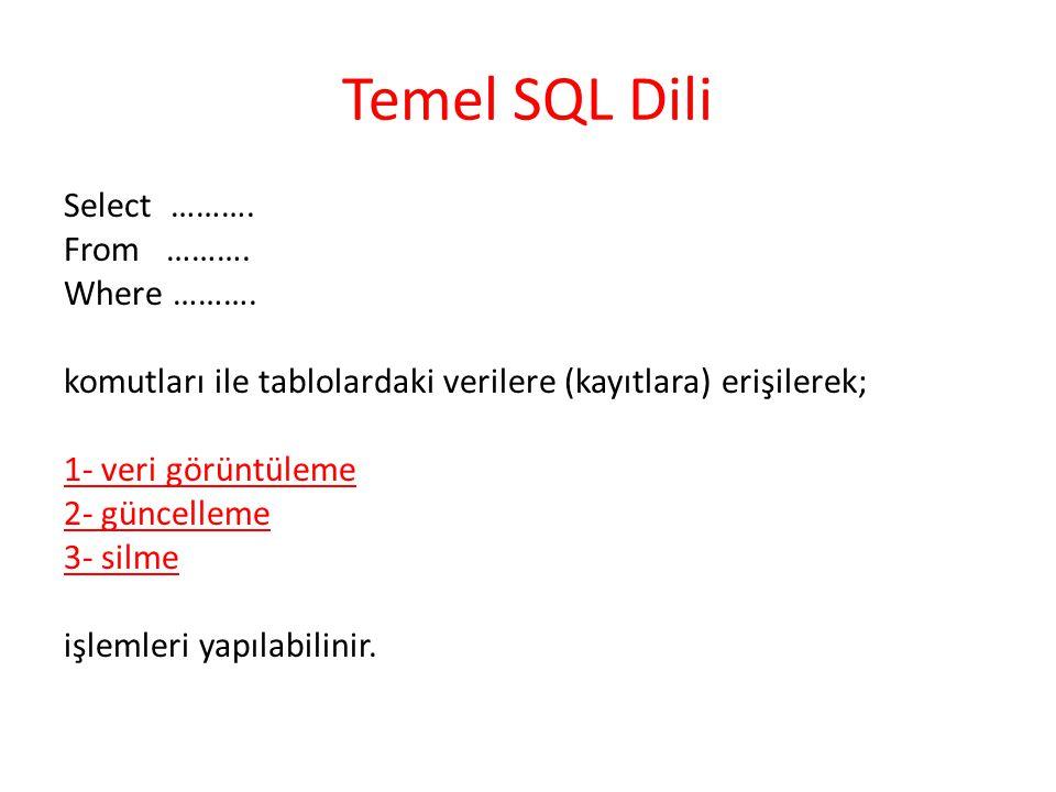 Temel SQL Dili Select ………. From ………. Where ………. komutları ile tablolardaki verilere (kayıtlara) erişilerek; 1- veri görüntüleme 2- güncelleme 3- silme