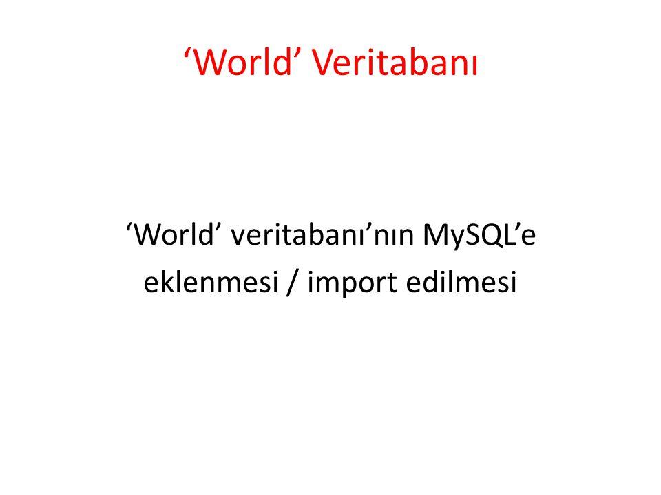 'World' Veritabanı 'World' veritabanı'nın MySQL'e eklenmesi / import edilmesi