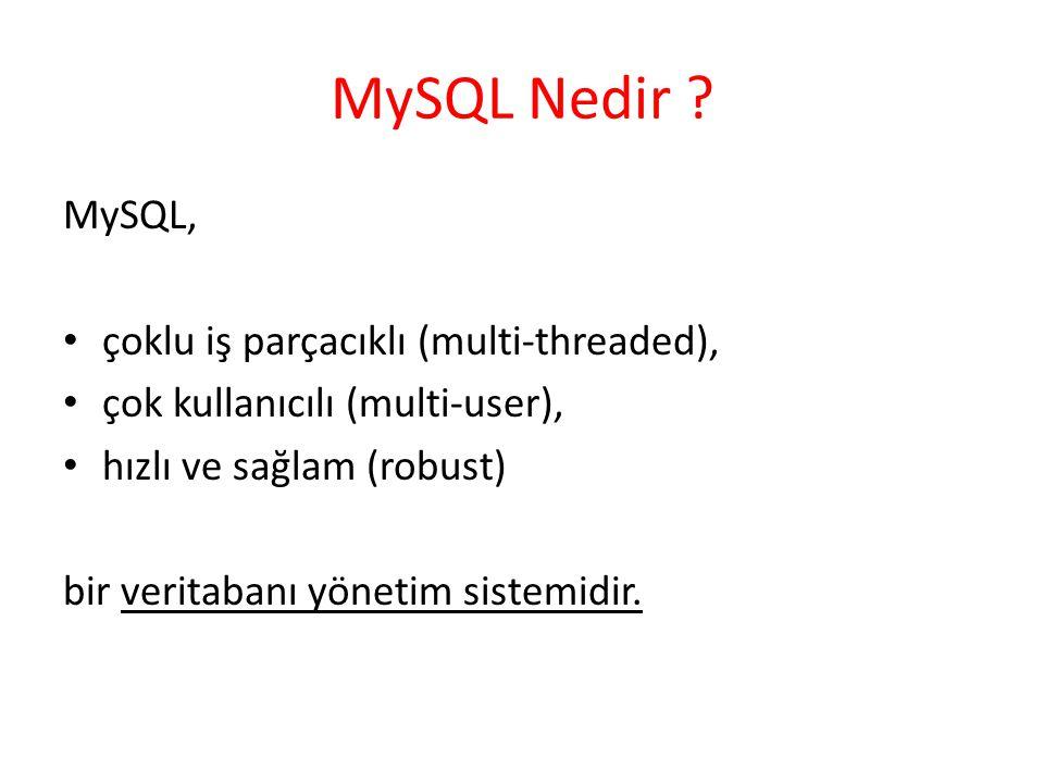 MySQL Nedir ? MySQL, çoklu iş parçacıklı (multi-threaded), çok kullanıcılı (multi-user), hızlı ve sağlam (robust) bir veritabanı yönetim sistemidir.