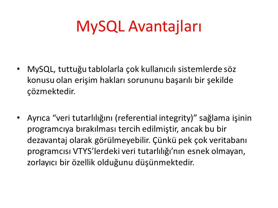 MySQL Avantajları MySQL, tuttuğu tablolarla çok kullanıcılı sistemlerde söz konusu olan erişim hakları sorununu başarılı bir şekilde çözmektedir. Ayrı