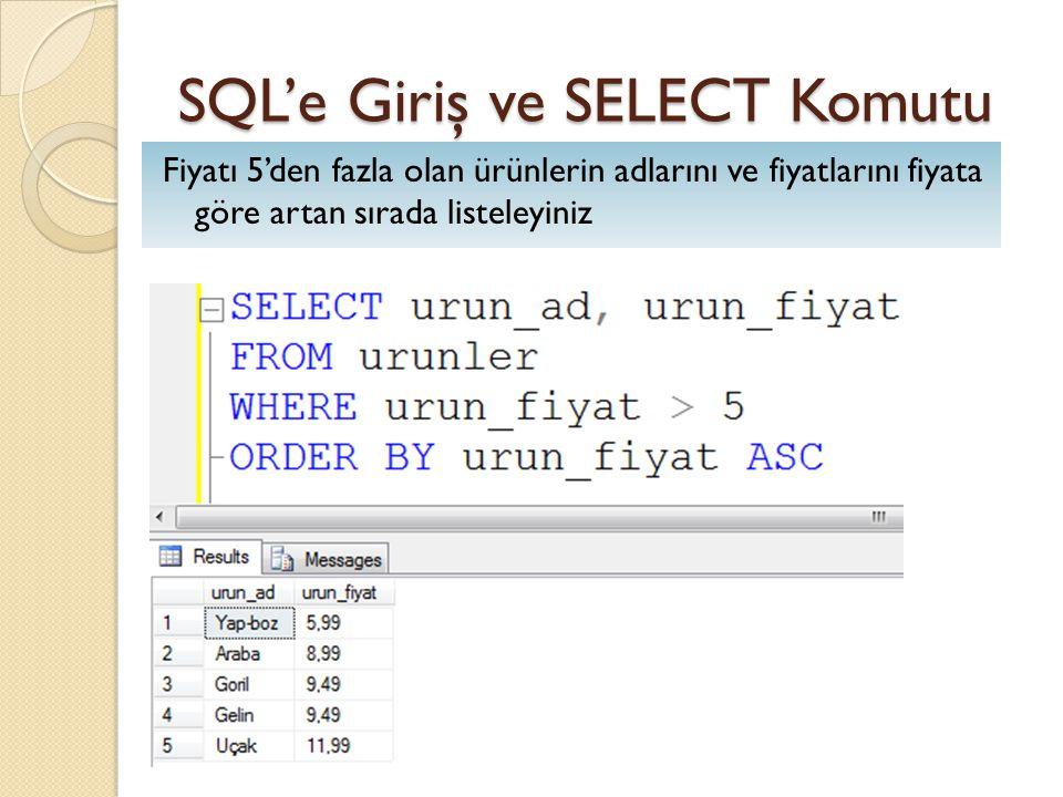 SQL'e Giriş ve SELECT Komutu Fiyatı 5'den fazla olan ürünlerin adlarını ve fiyatlarını fiyata göre artan sırada listeleyiniz