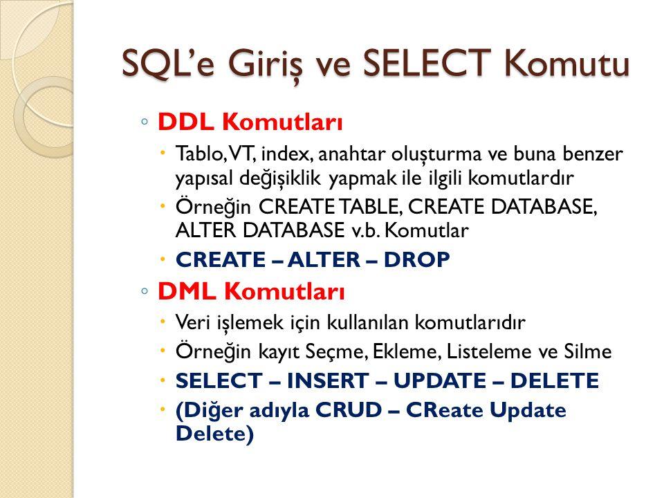 SQL'e Giriş ve SELECT Komutu ◦ DDL Komutları  Tablo, VT, index, anahtar oluşturma ve buna benzer yapısal de ğ işiklik yapmak ile ilgili komutlardır  Örne ğ in CREATE TABLE, CREATE DATABASE, ALTER DATABASE v.b.