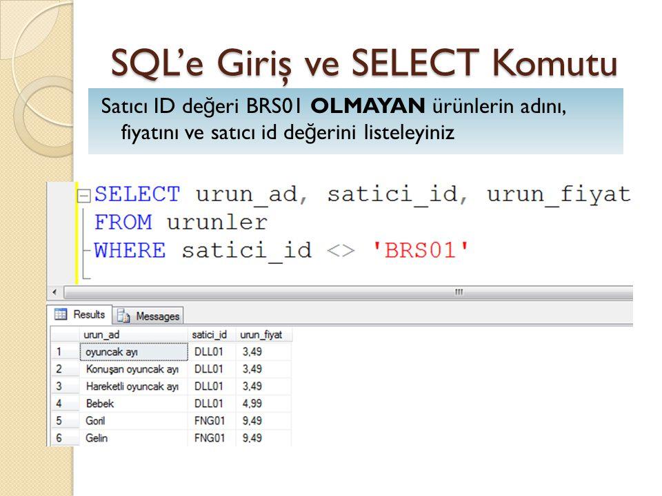 SQL'e Giriş ve SELECT Komutu Satıcı ID de ğ eri BRS01 OLMAYAN ürünlerin adını, fiyatını ve satıcı id de ğ erini listeleyiniz