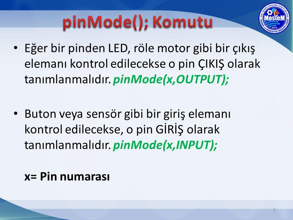 Eğer bir pinden LED, röle motor gibi bir çıkış elemanı kontrol edilecekse o pin ÇIKIŞ olarak tanımlanmalıdır. pinMode(x,OUTPUT); Buton veya sensör gib
