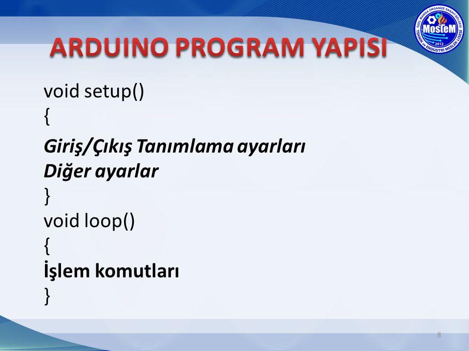 8 void setup() { Giriş/Çıkış Tanımlama ayarları Diğer ayarlar } void loop() { İşlem komutları }