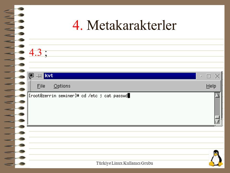 Türkiye Linux Kullanıcı Grubu 4. Metakarakterler 4.3 ;