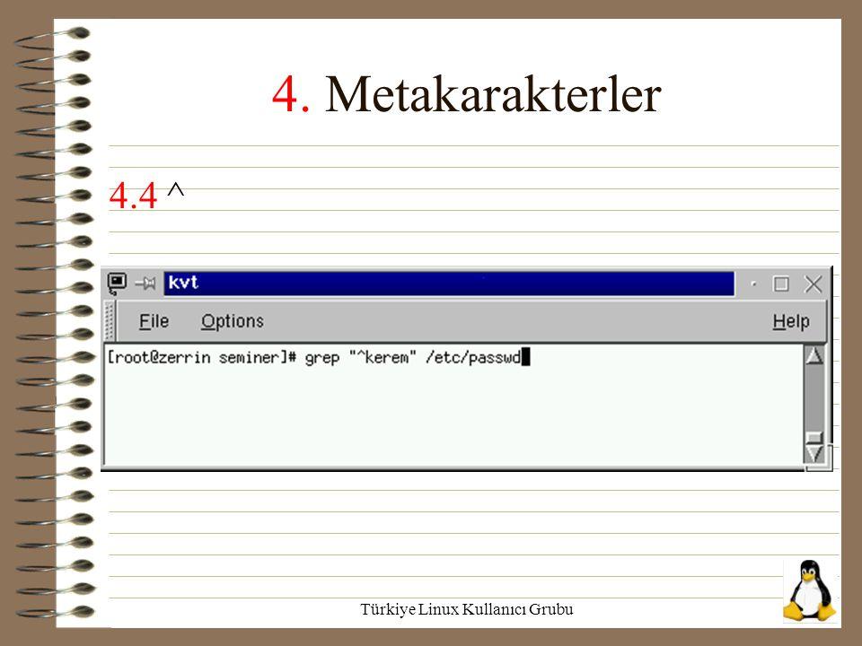 Türkiye Linux Kullanıcı Grubu 4. Metakarakterler 4.4 ^