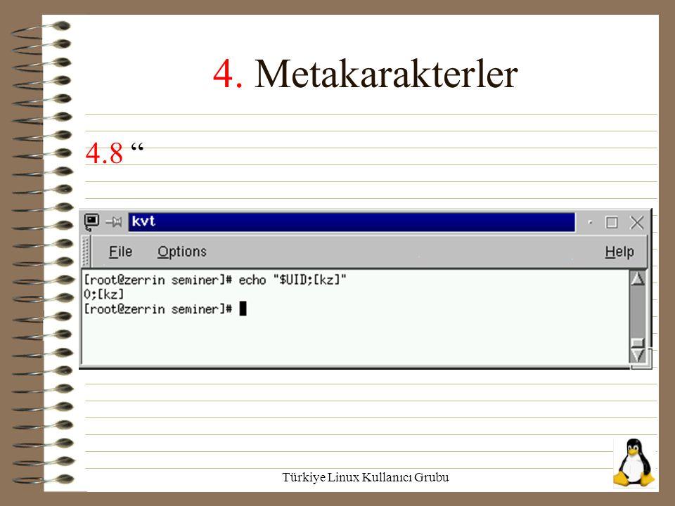"""Türkiye Linux Kullanıcı Grubu 4. Metakarakterler 4.8 """""""