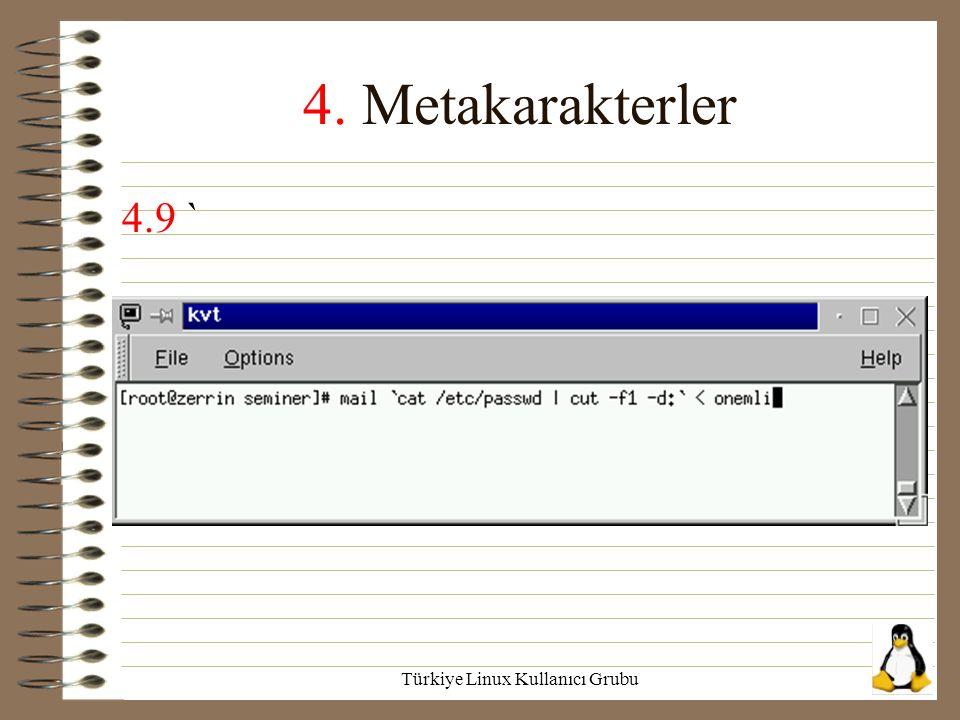 Türkiye Linux Kullanıcı Grubu 4. Metakarakterler 4.9 `