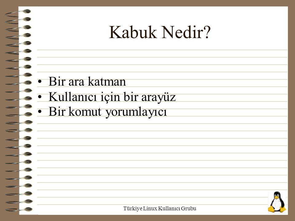 Türkiye Linux Kullanıcı Grubu Kabuk Nedir? Bir ara katman Kullanıcı için bir arayüz Bir komut yorumlayıcı
