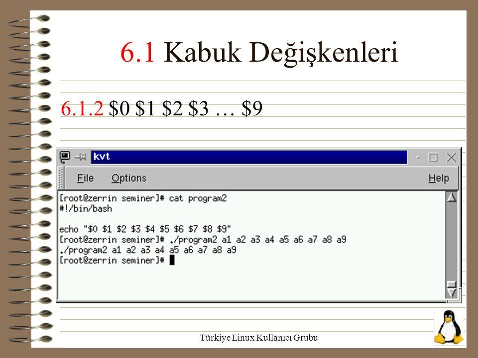Türkiye Linux Kullanıcı Grubu 6.1 Kabuk Değişkenleri 6.1.2 $0 $1 $2 $3 … $9