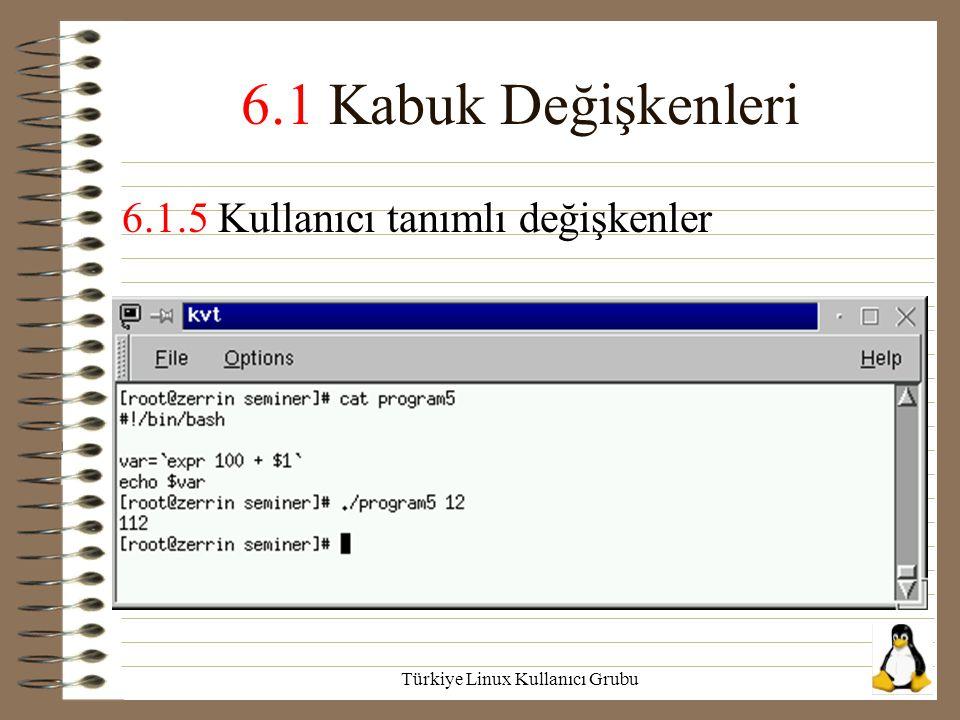 Türkiye Linux Kullanıcı Grubu 6.1 Kabuk Değişkenleri 6.1.5 Kullanıcı tanımlı değişkenler