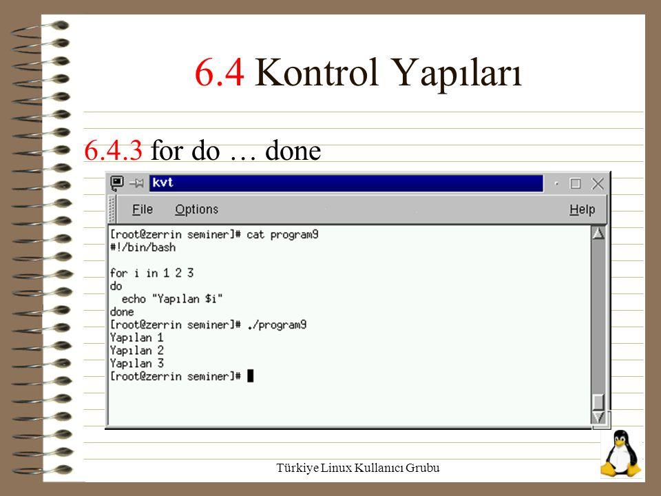 Türkiye Linux Kullanıcı Grubu 6.4 Kontrol Yapıları 6.4.3 for do … done
