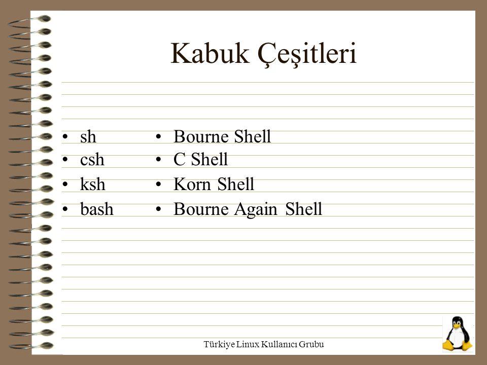 Türkiye Linux Kullanıcı Grubu Kabuk Çeşitleri sh csh ksh bash Bourne Shell C Shell Korn Shell Bourne Again Shell