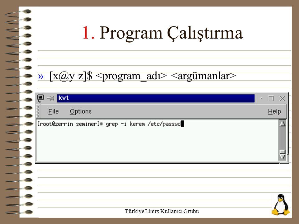 Türkiye Linux Kullanıcı Grubu 1. Program Çalıştırma »[x@y z]$