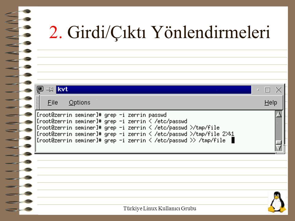Türkiye Linux Kullanıcı Grubu 2. Girdi/Çıktı Yönlendirmeleri
