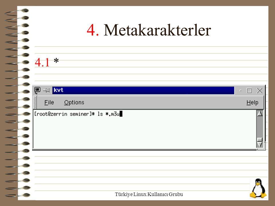 Türkiye Linux Kullanıcı Grubu 4. Metakarakterler 4.1 *