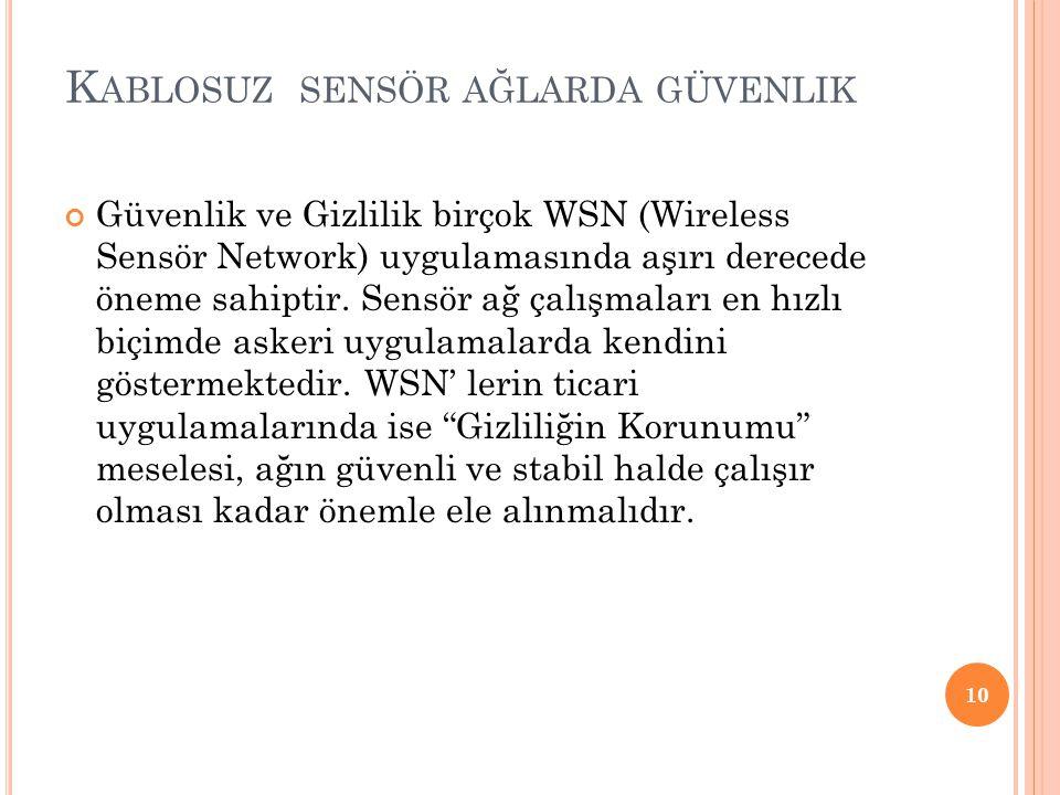 K ABLOSUZ SENSÖR AĞLARDA GÜVENLIK Güvenlik ve Gizlilik birçok WSN (Wireless Sensör Network) uygulamasında aşırı derecede öneme sahiptir.