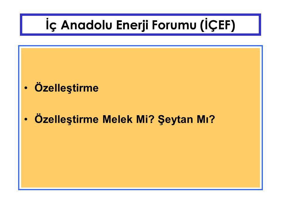 İç Anadolu Enerji Forumu (İÇEF) İşletme/Kuruluş/Tesis/Fabrika Türkiye'de Cumhuriyet sonrası kamunun birikimleriyle KİT'ler ortaya çıktı.