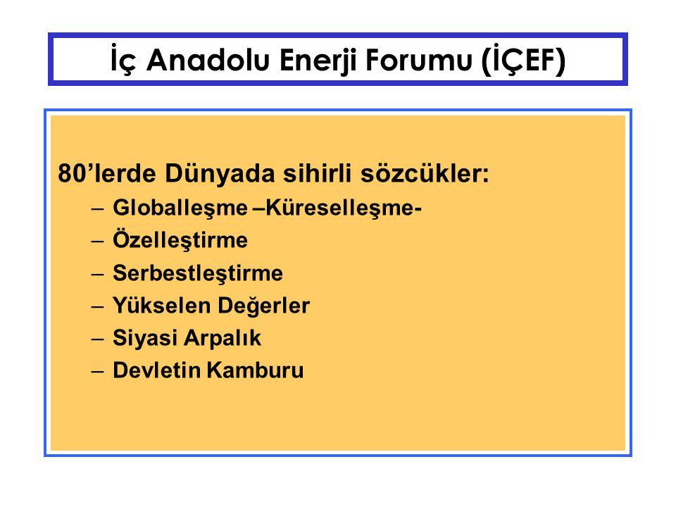 İç Anadolu Enerji Forumu (İÇEF) 80'ler Türkiye'si –Karma Ekonomi, Kamuya ait KİT'ler –80'lere girerken > +6 Milyar $ –90'lara girerken > - 6 Milyar $ –Dış Borç30 Milyar $ –Ekonomi emir komuta zincirine bağlı