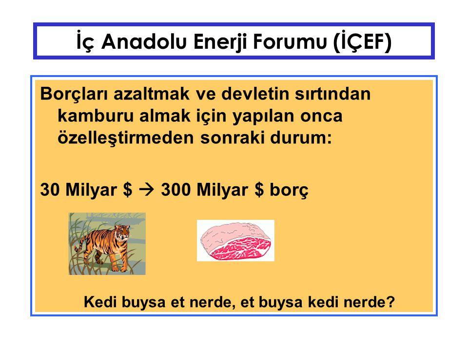 İç Anadolu Enerji Forumu (İÇEF) Alternatif: Özerk, teknik ve ticari gerçekleri yadsımayan, kar değil kamusal fayda odaklı işletmecilik.
