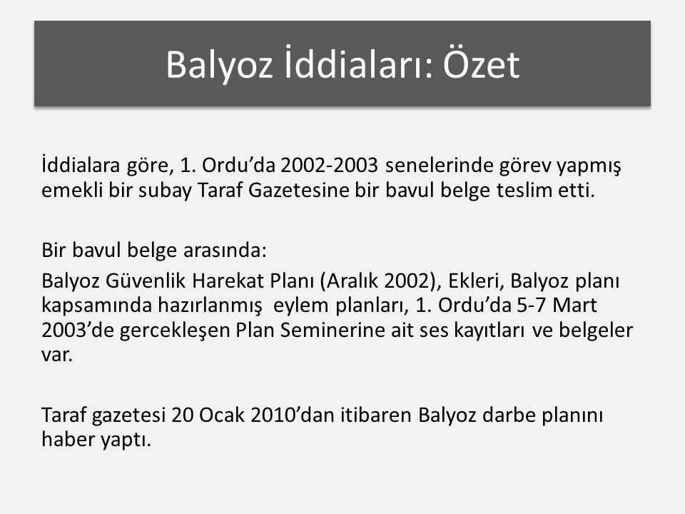 Balyoz İddiaları: Özet İddialara göre, 1. Ordu'da 2002-2003 senelerinde görev yapmış emekli bir subay Taraf Gazetesine bir bavul belge teslim etti. Bi
