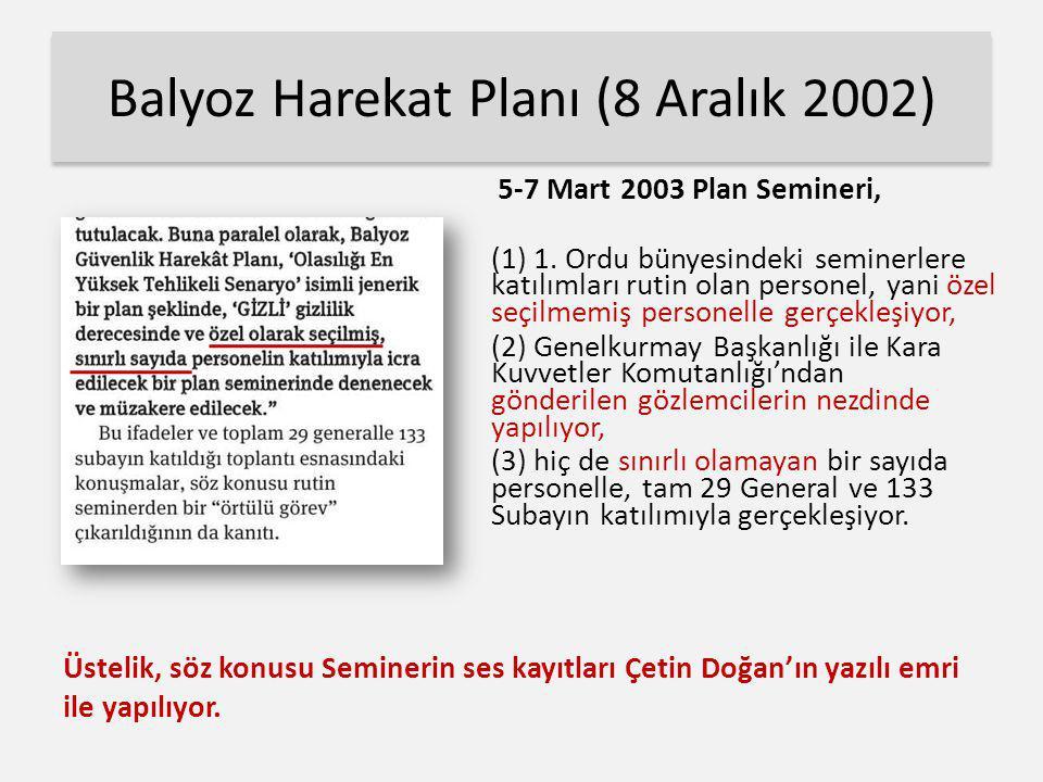 Balyoz Harekat Planı (8 Aralık 2002) 5-7 Mart 2003 Plan Semineri, (1) 1. Ordu bünyesindeki seminerlere katılımları rutin olan personel, yani özel seçi
