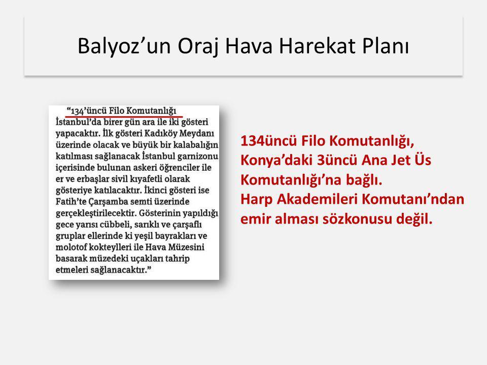 Balyoz'un Oraj Hava Harekat Planı 134üncü Filo Komutanlığı, Konya'daki 3üncü Ana Jet Üs Komutanlığı'na bağlı. Harp Akademileri Komutanı'ndan emir alma