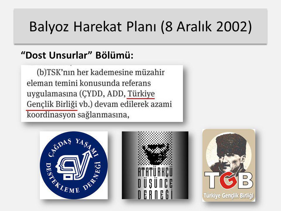 """Balyoz Harekat Planı (8 Aralık 2002) """"Dost Unsurlar"""" Bölümü:"""