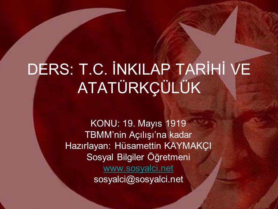 TBMM'NİN AÇILIŞI (23 NİSAN 1920) TBMM'nin Açılış Amaçları: 1-Milli iradeyi egemen kılmak 2-Ulusal güçleri bir arada tutmak 3-Bağımsızlığı sağlamak 4-Bağımsızlı ve egemenliği sağlayacak otorite ve gücü oluşturmak TBMM'ye öncelikle, işgal dolayısıyla İstanbul'dan kaçıp gelen mebuslar kabul edilerek; meclis Meclis-i Mebusanın devamı gibi gösterilmiştir.