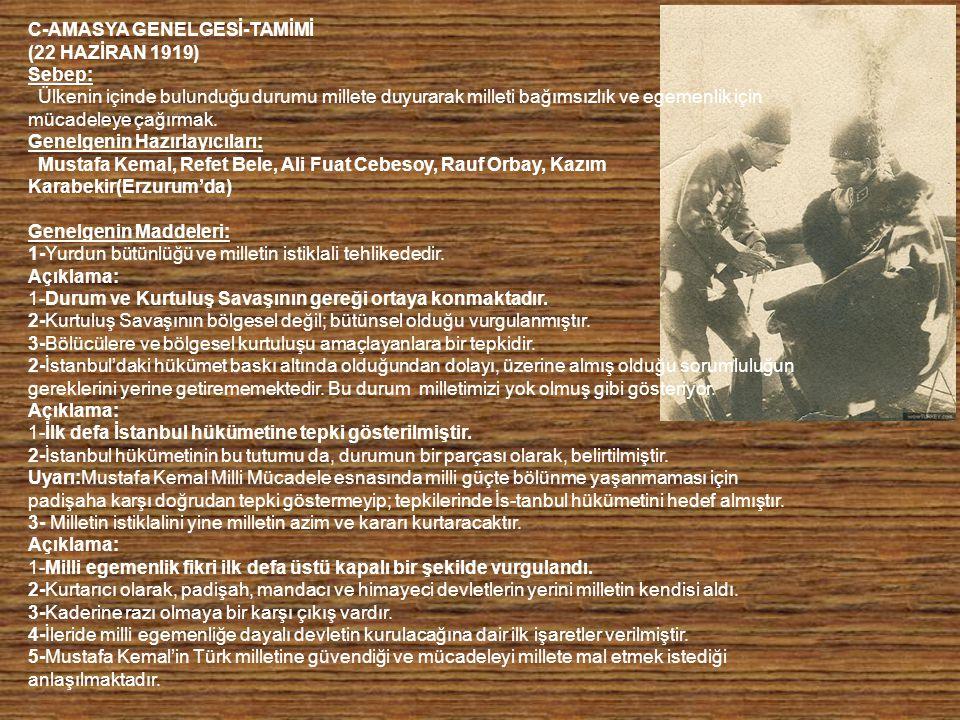 H-AMASYA GÖRÜŞMELERİ (20-22 EKİM 1919) Damat Ferit Paşa 2 Ekim 1919'da istifa edince, hükümeti Ali Rıza Paşa kurumuştur.