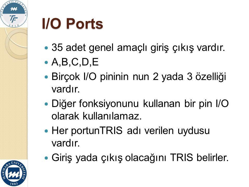 I/O Ports 35 adet genel amaçlı giriş çıkış vardır. A,B,C,D,E Birçok I/O pininin nun 2 yada 3 özelliği vardır. Diğer fonksiyonunu kullanan bir pin I/O