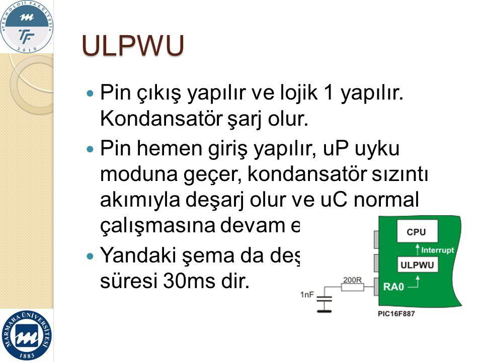 ULPWU Pin çıkış yapılır ve lojik 1 yapılır. Kondansatör şarj olur. Pin hemen giriş yapılır, uP uyku moduna geçer, kondansatör sızıntı akımıyla deşarj