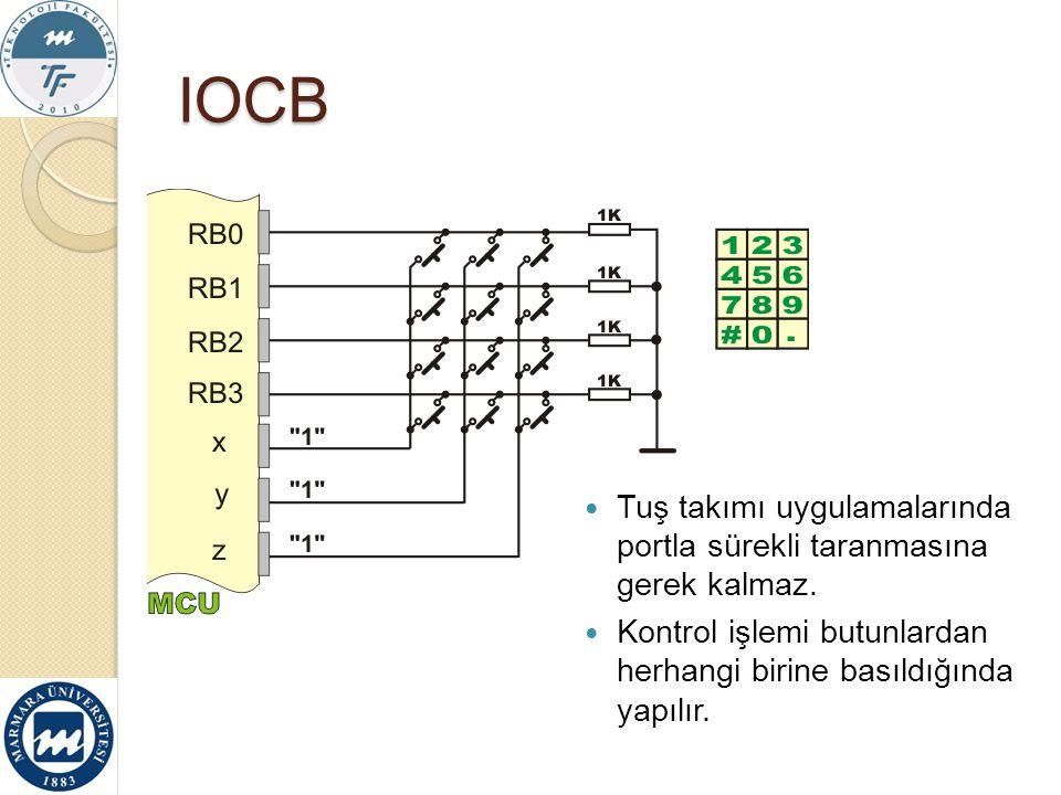 IOCB Tuş takımı uygulamalarında portla sürekli taranmasına gerek kalmaz. Kontrol işlemi butunlardan herhangi birine basıldığında yapılır.