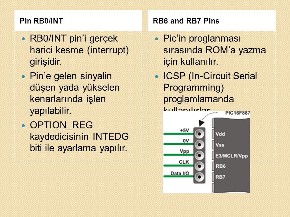 Pin RB0/INTRB6 and RB7 Pins RB0/INT pin'i gerçek harici kesme (interrupt) girişidir. Pin'e gelen sinyalin düşen yada yükselen kenarlarında işlen yapıl