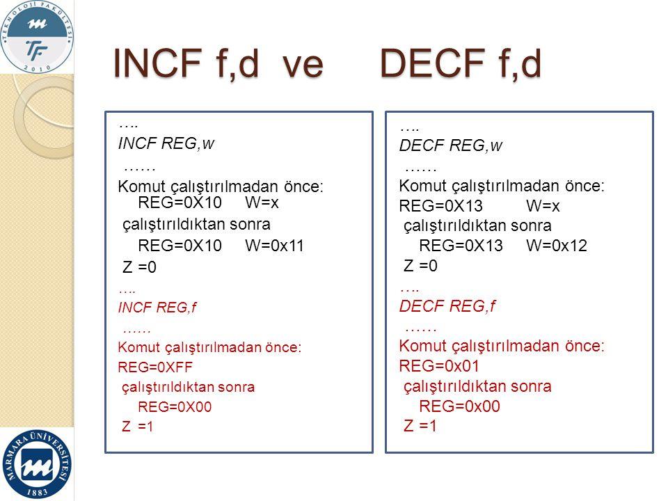 INCF f,d ve DECF f,d …. INCF REG,w …… Komut çalıştırılmadan önce: REG=0X10 W=x çalıştırıldıktan sonra REG=0X10W=0x11 Z=0 …. INCF REG,f …… Komut çalışt