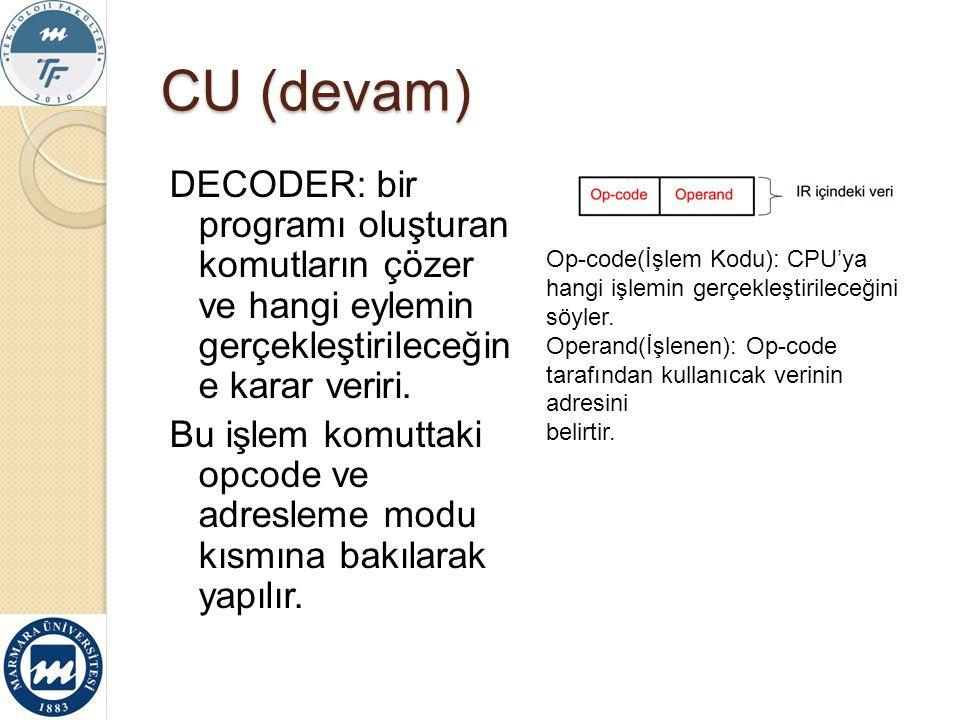 CU (devam) DECODER: bir programı oluşturan komutların çözer ve hangi eylemin gerçekleştirileceğin e karar veriri. Bu işlem komuttaki opcode ve adresle