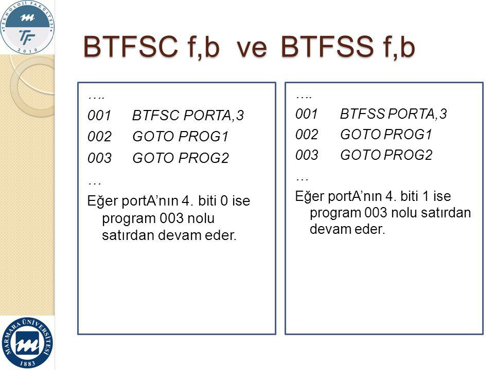 BTFSC f,b ve BTFSS f,b …. 001BTFSC PORTA,3 002GOTO PROG1 003GOTO PROG2 … Eğer portA'nın 4. biti 0 ise program 003 nolu satırdan devam eder. …. 001BTFS