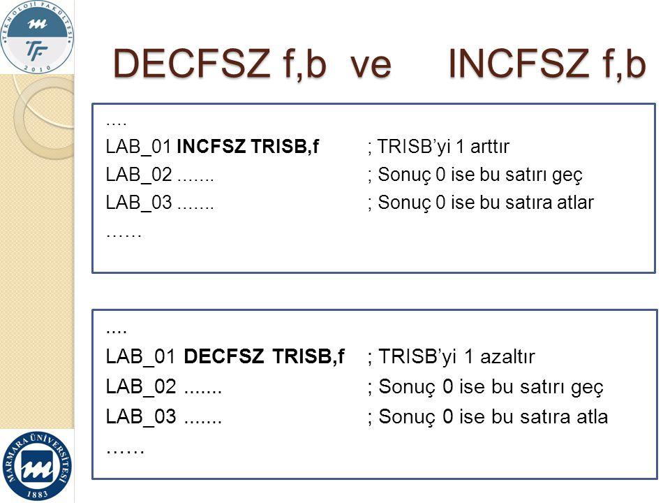 DECFSZ f,b ve INCFSZ f,b.... LAB_01 DECFSZ TRISB,f ; TRISB'yi 1 azaltır LAB_02....... ; Sonuç 0 ise bu satırı geç LAB_03....... ; Sonuç 0 ise bu satır