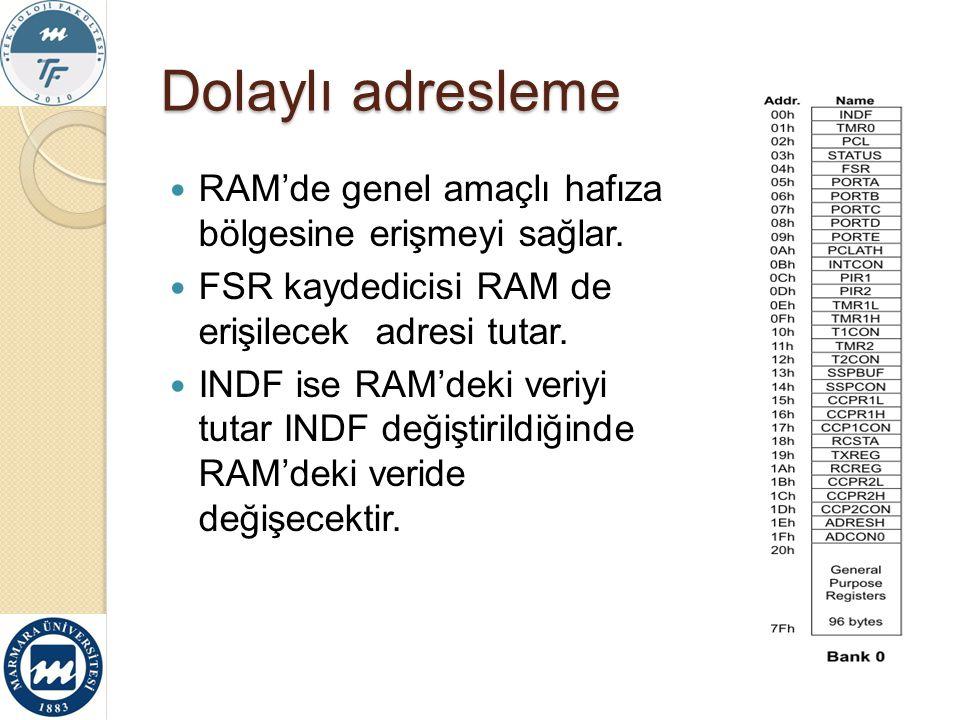 Dolaylı adresleme RAM'de genel amaçlı hafıza bölgesine erişmeyi sağlar. FSR kaydedicisi RAM de erişilecek adresi tutar. INDF ise RAM'deki veriyi tutar